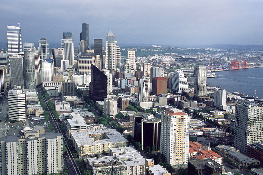 Aerial view of the city skyline, Seattle, Washington, United States of America, North America
