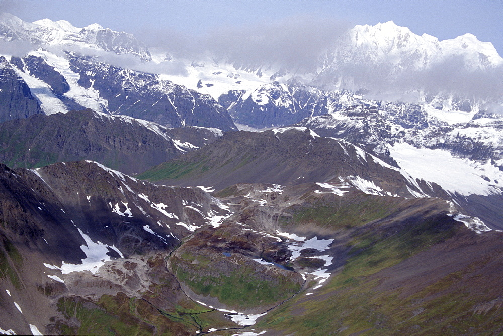 Aerial of Denali Mountains, Alaska, United States of America, North America - 745-86