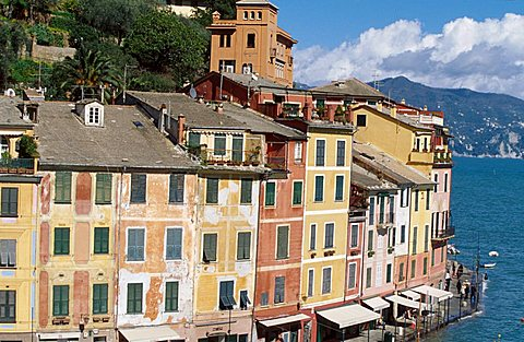 Houses on the seafront, Portofino, Liguria, Italy