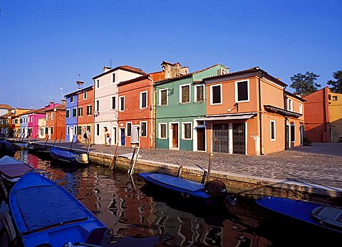 "Typical houses on the ""Rio"", Burano, Venice, Veneto, Italy"