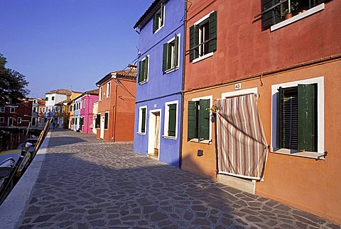 Typical houses in Burano, Venice, Veneto, Italy