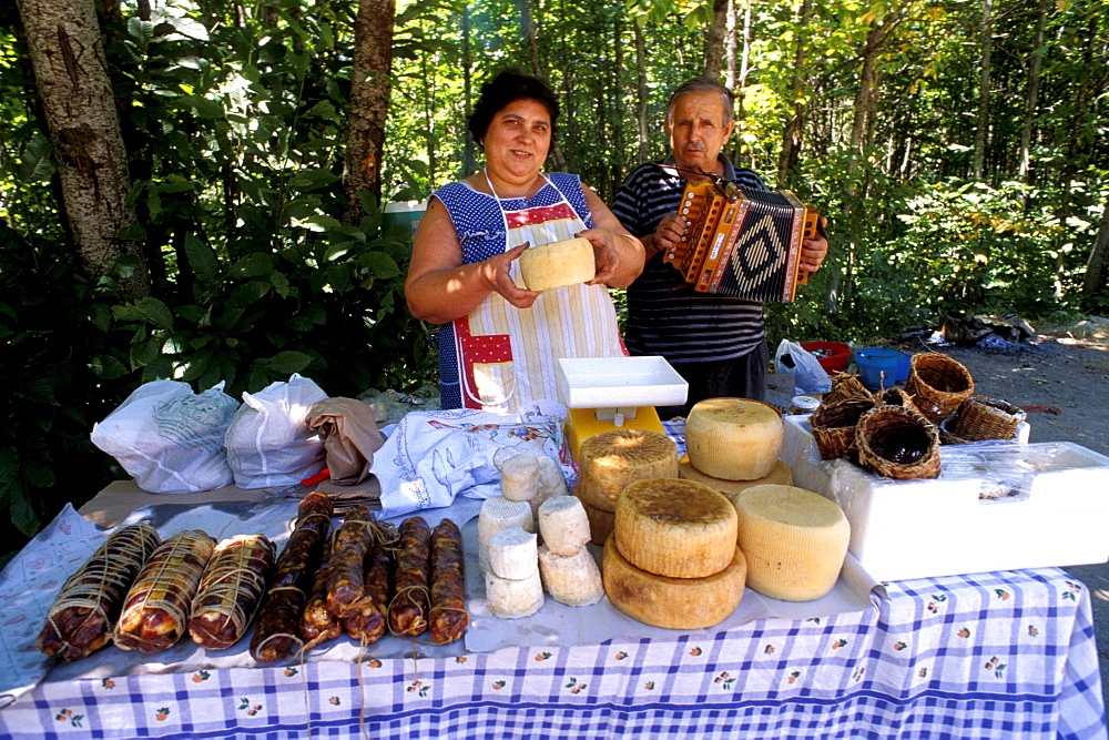 Sellers of typical product, Gambarie, Aspromonte, Calabria, Italy