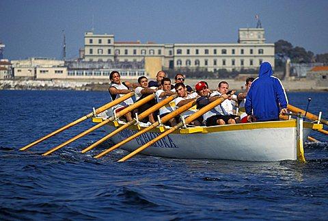 Training of Ovosodo rower for Seafaring Palio, Livorno, Tuscany, Italy