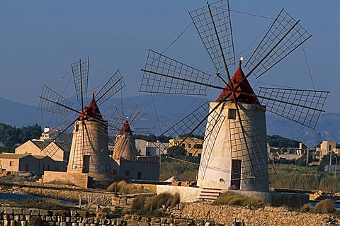Mills in the saltworks, Marsala, Sicily, Italy