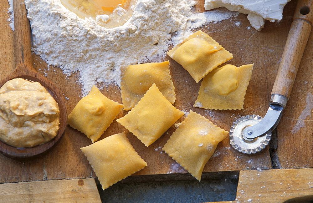 Bruss cheese, ravioli with Bruss cheese, Racconigi, Piedmont, Italy