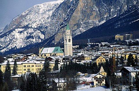 Panoramic view, Cortina d'Ampezzo, Veneto, Italy.