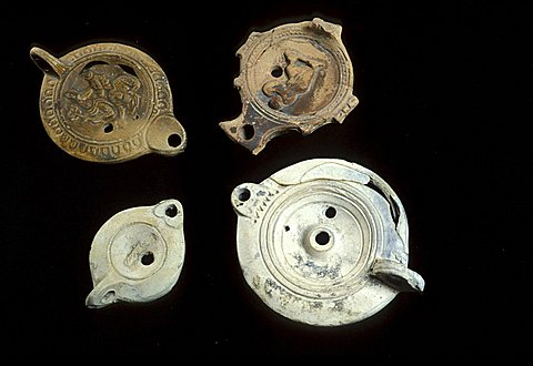 Roman oil lamps, Sicily, Italy