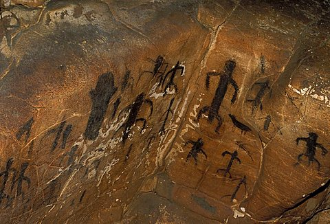 Archaeological graffiti, Grotta del Genovese, Levanzo, Aegadian Islands, Sicily, Italy