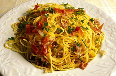Pasta with ham and lemon, Campofilone, Marche, Italy