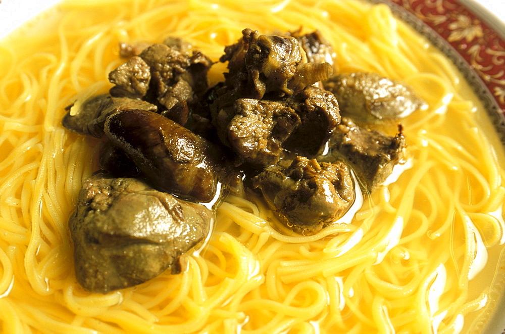 Noodle soup with chicken liver, Al Calmiere restaurant, Verona, Veneto, Italy.