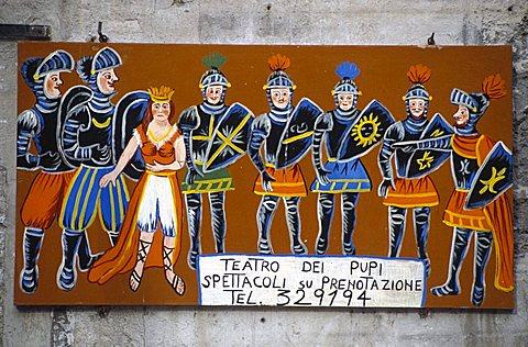 Sign, Pupi theatre, Palermo, Sicily, Italy