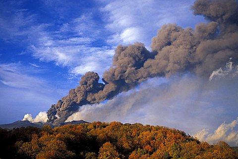 Eruption, Etna volcano, Taormina, Sicily, Italy