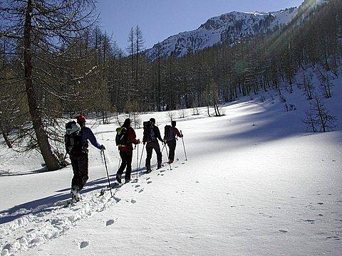 Skiers, Valle Maira, Piedmont, Italy