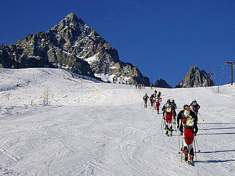 Skiers, Monviso mountain, Piedmont, Italy