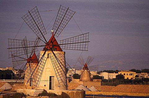 Windmills, Mothia, Sicily, Italy