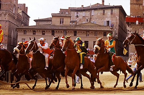 """Starting the Palio with the """"Mossa"""", Siena, Tuscany, Italy"""