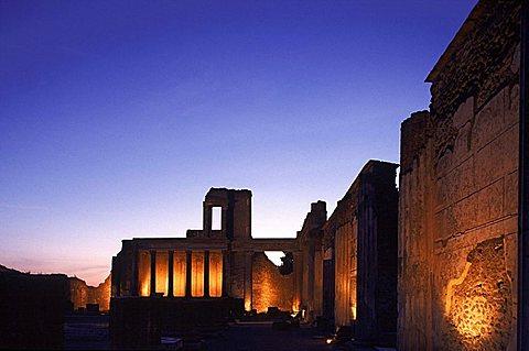 Basilica at dusk, Pompei, Campania, Italy