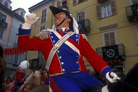 Parade for the end of Carnival, Ivrea, Piemonte, Italy