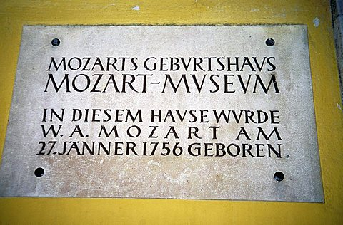 Sign of Mozart's Birthplace in Getreidegasse, Salzburg, Austria, Europe