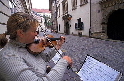 Street-musician, Cracow, Poland, Europe