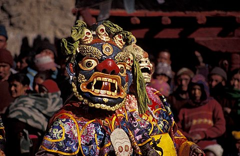 Celebrative mask at gompa, Leh, Ladakh, India, Asia
