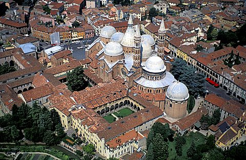 Aerial view of the basilica of Saint Anthony of Padua, Padua, Veneto, Italy