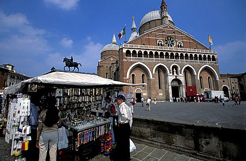 Stands in Saint Anthony square, Padua, Veneto, Italy