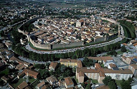 Aerial view of Cittadella,  Veneto, Italy