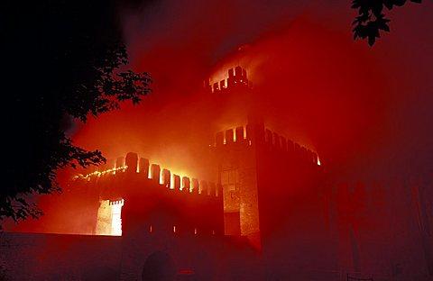 The burning of the tower, Montagnana,  Veneto, Italy