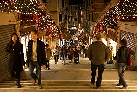 Christmas lights under Rialto Bridge, Venice, Veneto, Italy