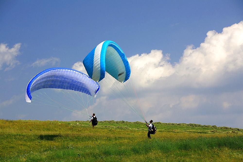 Hang gliding, Piana delle Viote, Bondone mountain, Trentino Alto Adige, Italy
