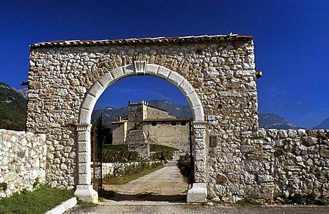 Entrance, Castel Noarna farm, Noarna di Nogaredo, Trentino Alto Adige, Italy