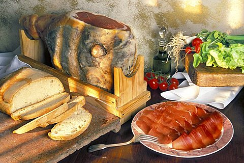 Bread and Parma ham, Italy