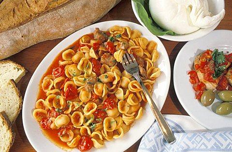 Orecchiette pasta with tomato sauce, Puglia, Italy