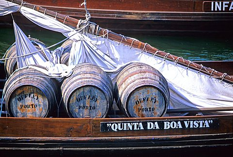 Typical boats transporting Porto wine, Douro river, Porto, Portugal, Europe