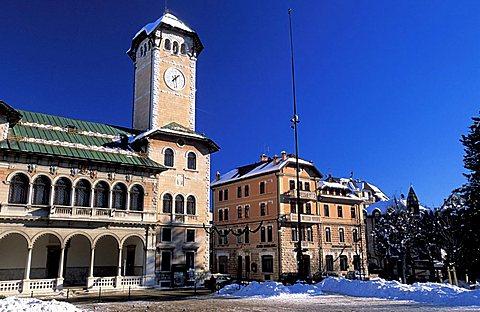 Forshortening of a town, Altopiano Dei Sette Comuni, Veneto, Italy