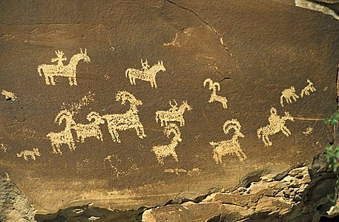 Indian graffitoes, Arches national park, Utah, United States of America, North America