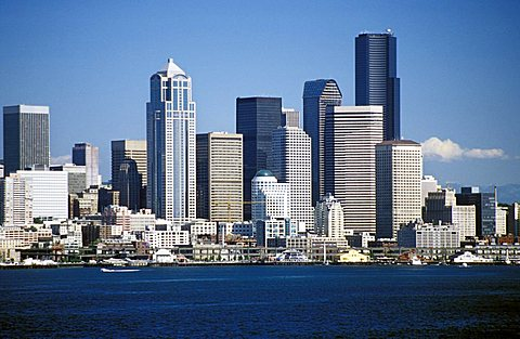 Cityscape from sea, Seattle, Washington State, United States of America, North America