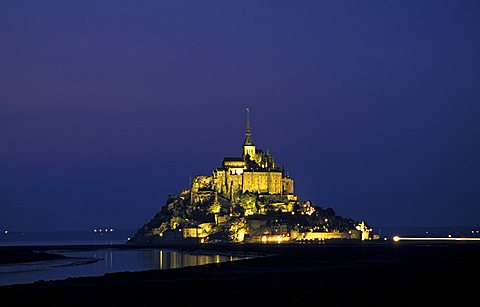 Mount Saint Michael by night, Normandy, France, Europe