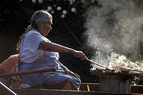 Woman cooking, Xochimilco, Mexico City, Mexico, Central  America, America