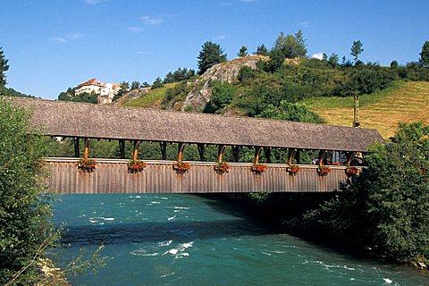 Covered bridge, Val Pusteria, Trentino Alto Adige, Italy
