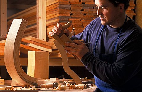 Craftsman making sleighs, Alta Badia, Trentino Alto Adige, Italy