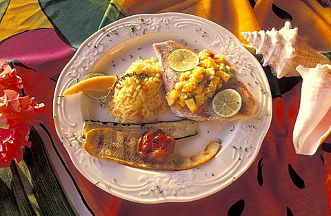 Snapper with ananas sauce and spices, Inn at English Harbour hotel, Antigua, Caribbean, Central America