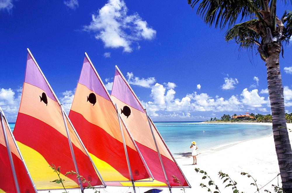 Beach, Jumby Bay hotel, Long Island, Antigua, Caribbean, Central America