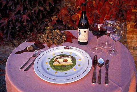 Mash of cauliflower with cheese and truffle, Hotel castle Santa Vittoria, Alba, Piedmont, Italy.