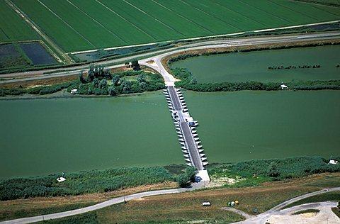 Bridge made of boats, Gorino Veneto, Scardovari, Veneto, Italy