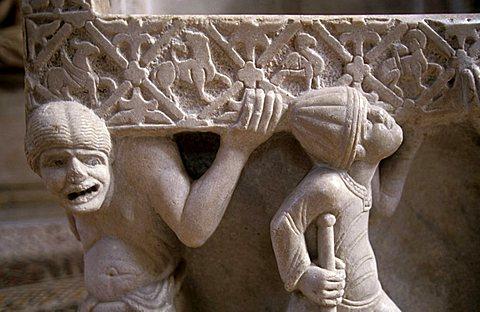 Particular, Episcopale marble chair, San Nicola basilica, Bari, Puglia, Italy