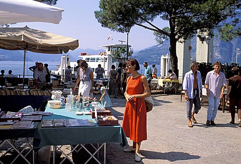 Antique trade market, Varenna, Como lake, Lombardy, Italy