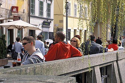 Foreshortening near Ljubljanica river, Ljubljana, Slovenia, Europe