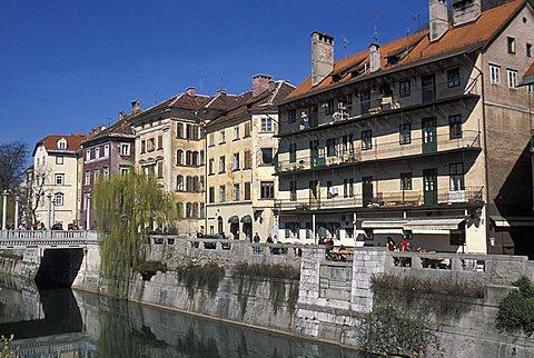 Ljubljanica river, Ljubljana, Slovenia, Europe